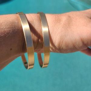 Gold Matte Flat Bangle Bracelets 6mm Bangles